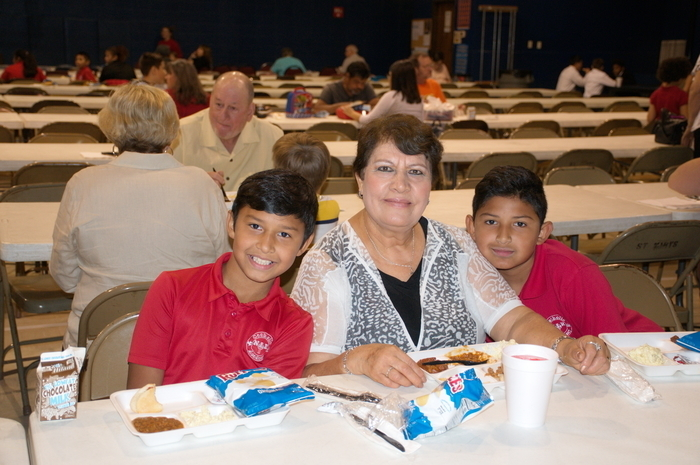The Nava family having a great Grandparents Day Lunch