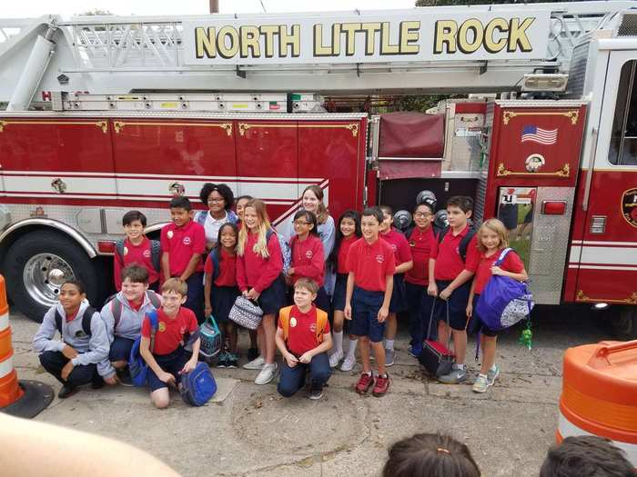 Fifth grade in front of the NLR Fire Truck