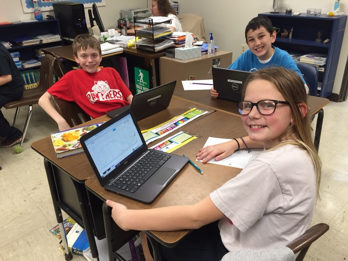 Pictures of 5th Grade working on Stock Market Games.