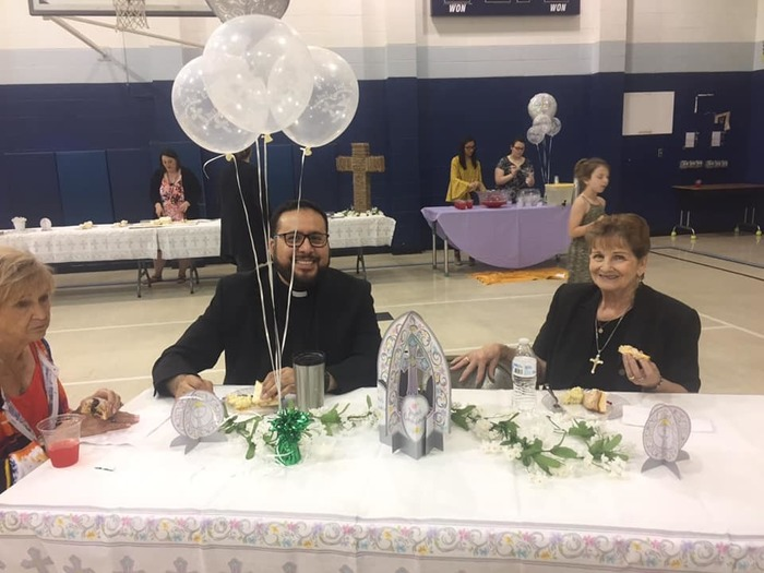 Fr. Ruben and Mrs. Troutman at First Communion